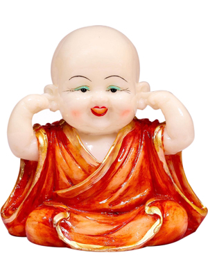 Orange Polyresin Laughing Buddha Set Idol by Forever