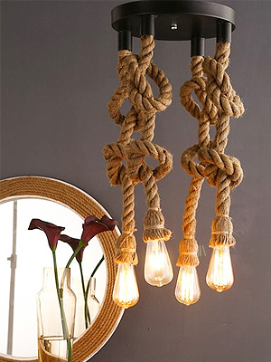 Black and Brown Rope Hanging Light With Filament Bulbs by Homesake