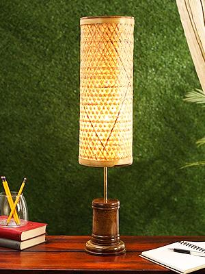 Beige Bamboo Table Lamp by Kraftinn