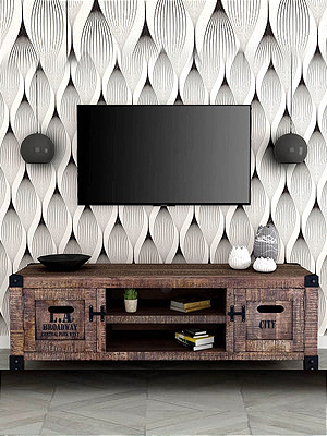 Talon Solid Wood TV unit in Distress Finish by Bohemiana