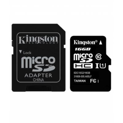 Kingston 16GB MicroSDHC Class 10 UHS-I with 80 Mbps speed & Adaptor