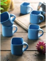Vareesha Turquoise Blue Square Cups - Set of 6