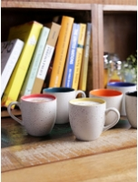 Cdi Marble Finish 200 ML Stoneware Tea Cups with Wooden Tray - Set of 6