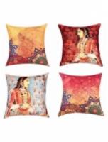 Ethnic Motif Silk 16 x 16 inch Cushion Cover Set of 4 by SEJ By Nisha Gupta