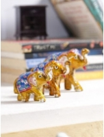 Multicolour Solid Wood Elephant Set of 3 Figurine